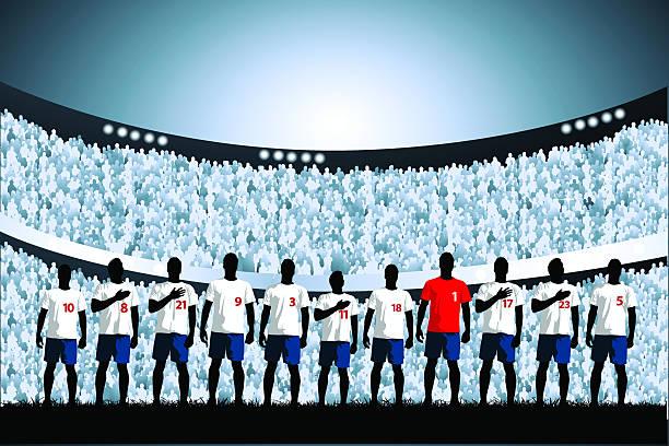 ilustrações, clipart, desenhos animados e ícones de linha de partida de futebol - equipe esportiva