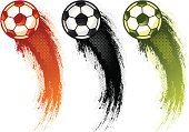 Grungy soccer/football swooshes in three different colors. Halftone patterns can easily be removed.