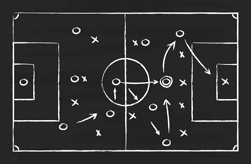 Soccer tactic on board. Football strategy on chalkboard. Plan for game. Blackboard with chalk for sport coach. Sketch scheme with arrows for attack in goal. Playbook for training of team. Vector