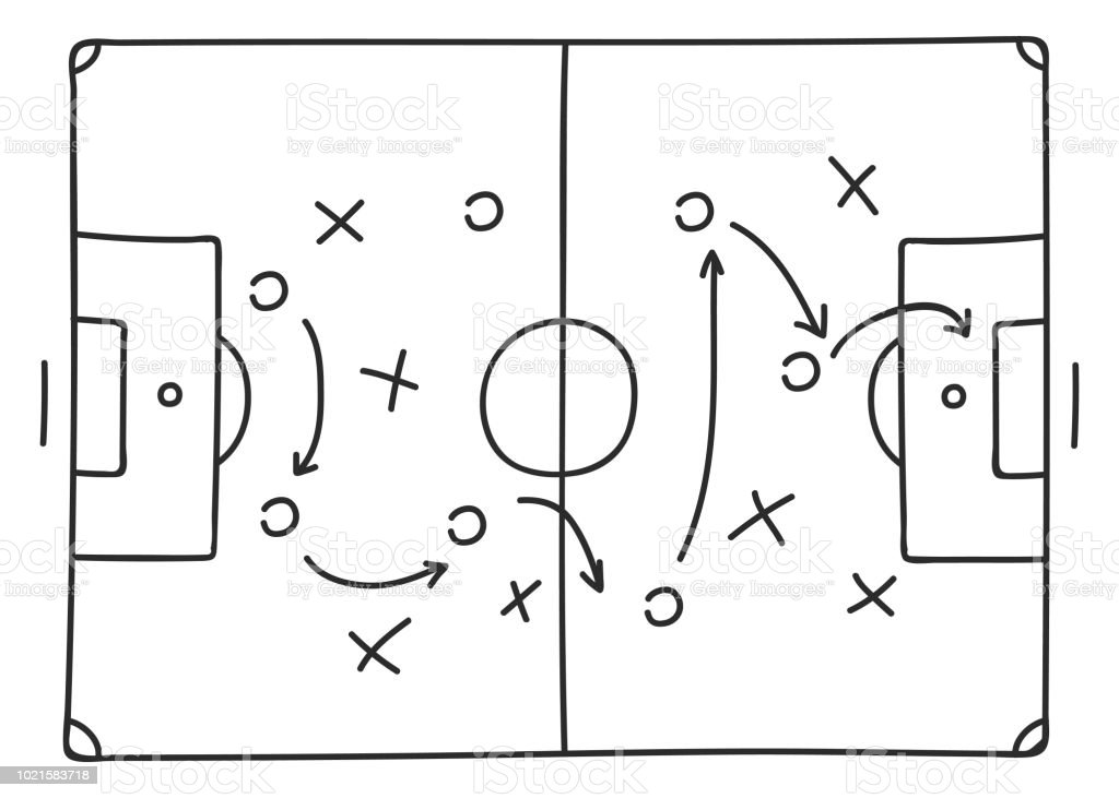 Soccer tactics sketch icon