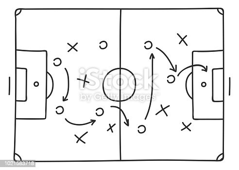 Soccer tactics sketch icon