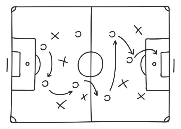 Soccer tactics sketch icon vector art illustration