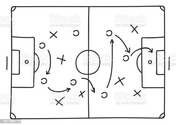 Voetbal Tactiek Schets Pictogram Stockvectorkunst en meer beelden van Bal