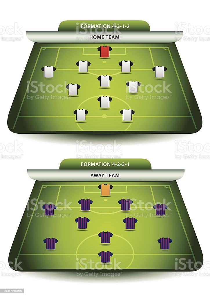 Soccer team formations vector art illustration