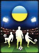 Soccer Team on Stadium Background