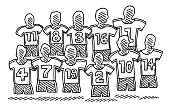 Hand-drawn vector drawing of a Soccer Team Symbol. Black-and-White sketch on a transparent background (.eps-file). Included files are EPS (v10) and Hi-Res JPG.