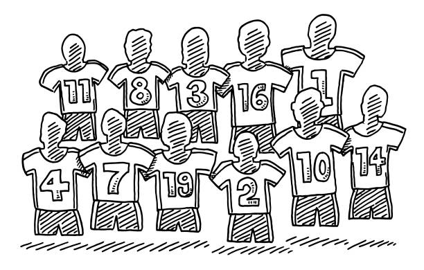 Soccer Team Symbol Drawing Hand-drawn vector drawing of a Soccer Team Symbol. Black-and-White sketch on a transparent background (.eps-file). Included files are EPS (v10) and Hi-Res JPG. sport stock illustrations