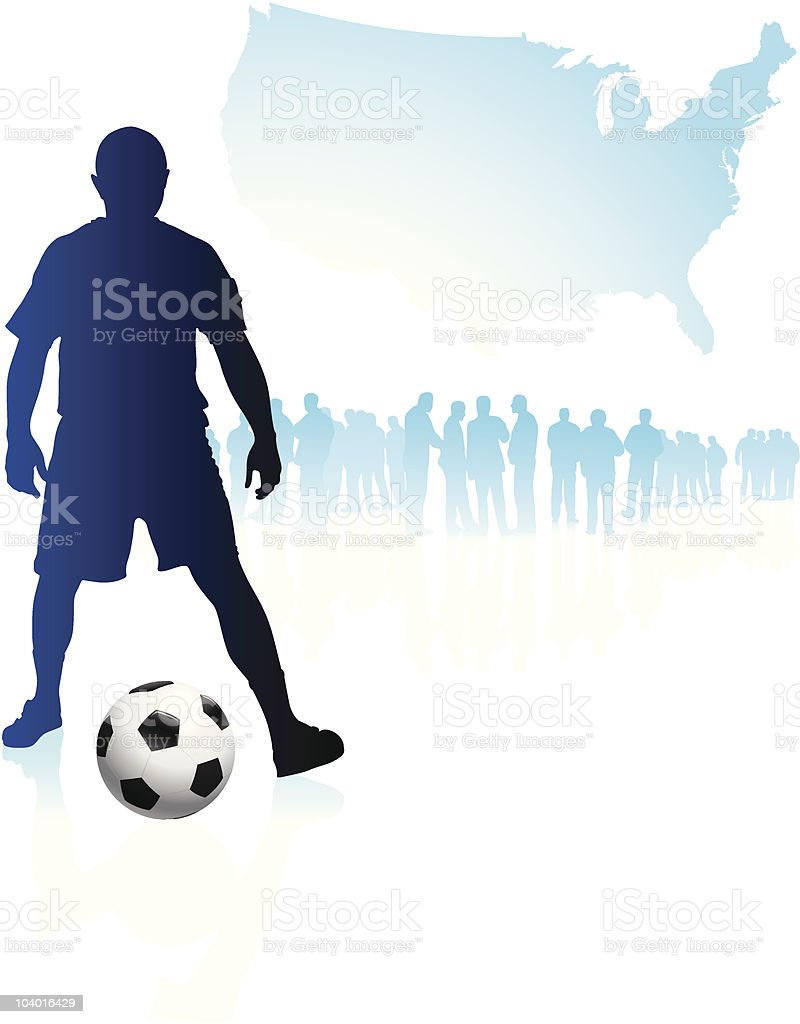 Soccer Team with United States Map royalty-free stock vector art