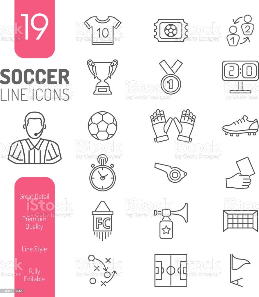 Soccer Thin Lines Web icono conjunto - ilustración de arte vectorial