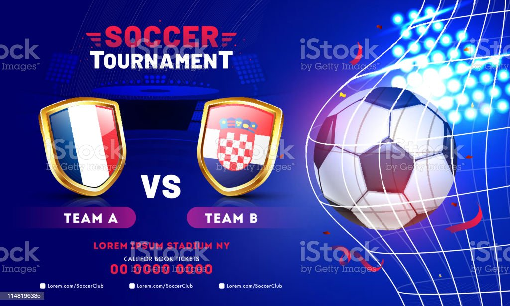 Soccer Tournament banner or poster design with soccer ball and...