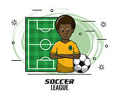 Brazil player on camp field cartoon vector illustration graphic design