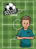 Soccer player on camp field cartoon vector illustration graphic design