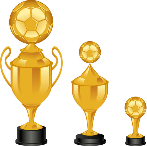 stockillustraties, clipart, cartoons en iconen met soccer trophies - internationaal voetbalevenement