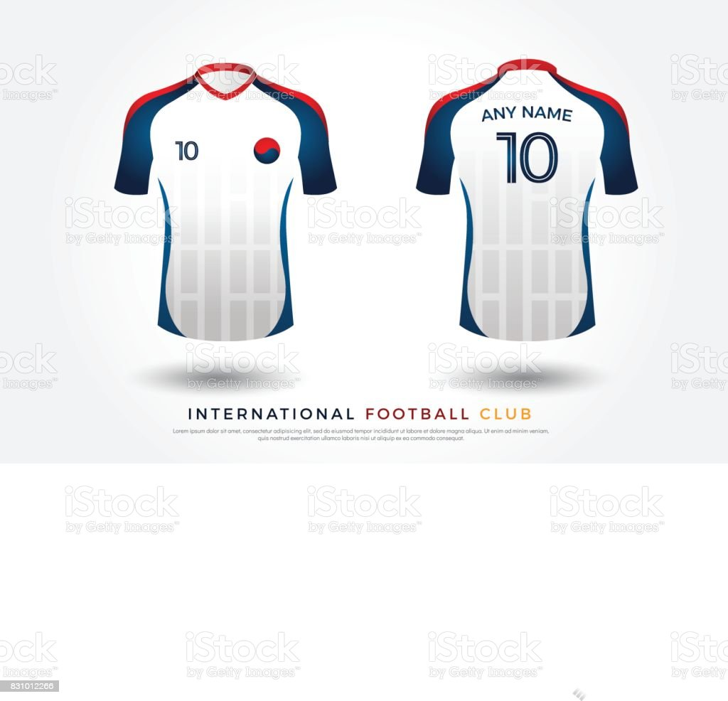 15c22784e07 Soccer t-shirt design uniform set of soccer kit. football jersey template  for football club. white, blue and red color, front and back view shirt  mock up. ...