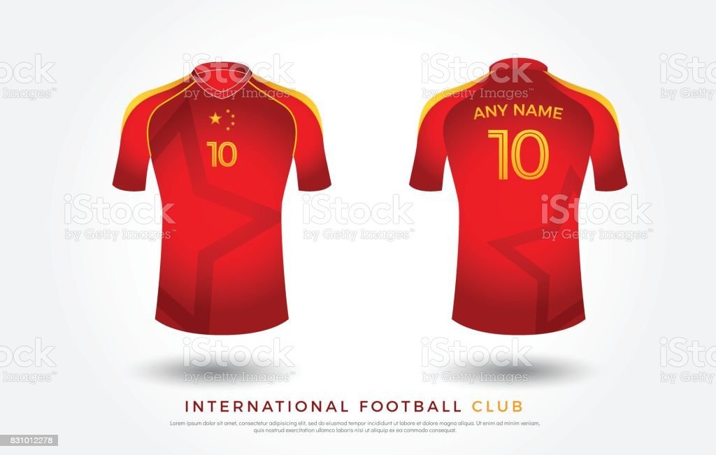 8bcd2faa9c0 Soccer t-shirt design uniform set of soccer kit. football jersey template  for soccer club. red and yellow color