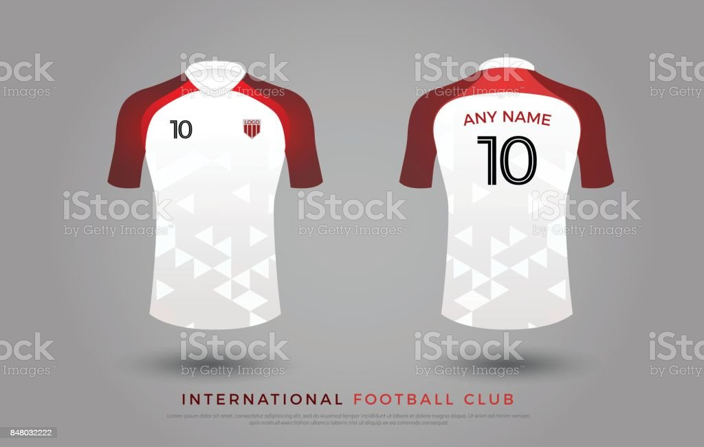 0b57dc01f78 Soccer t-shirt design uniform set of soccer kit. football jersey template  for football club. red and white color