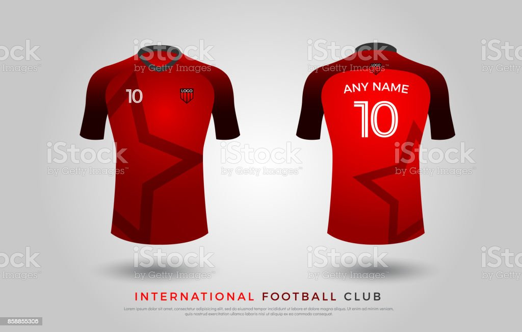 61f6e39a5 Soccer t-shirt design uniform set of soccer kit. football jersey template  for football club. red and black color