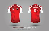 soccer t-shirt design uniform set of soccer kit. football jersey template. red and white color, front and white view shirt mock up. UAE football club vector illustration