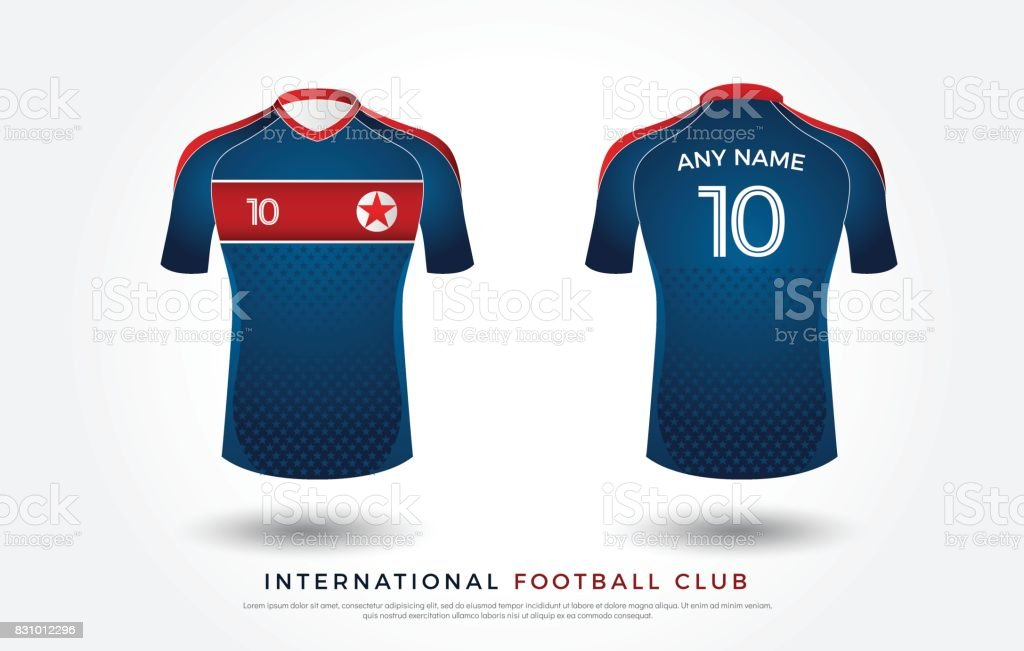 cf4159b69c4 Soccer t-shirt design uniform set of soccer kit. football jersey template.  white, blue and red color, front and back view shirt mock up. north korea  ...