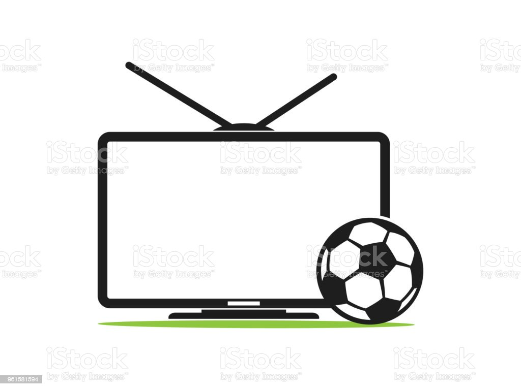 Soccer TV vector icon in a flat style isolated on white. Football TV. Sports TV. Broadcast of the football match vector art illustration