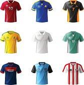 Different football sportswear, jerseys