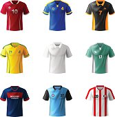Different football sportswear, jerseys