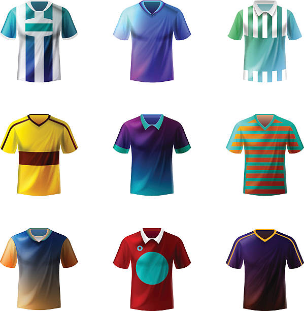 Soccer uniform Different football sportswear, jerseys american football uniform stock illustrations