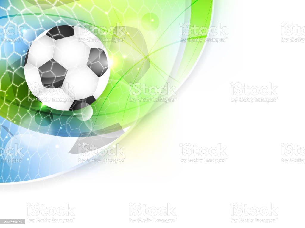 Soccer banner. Net, ball and glitter. Sport vector illustration with...