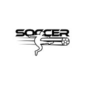 Soccer vector illustration of a silhouette soccer or football player isolated on white background. Sport  with soccer text and soccer player figure. Soccer vector for icon, , app, symbol.