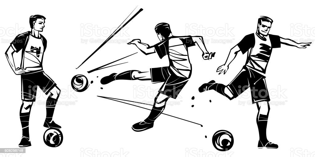 Soccer vector illustration. Three players in soccer. Black figure on...