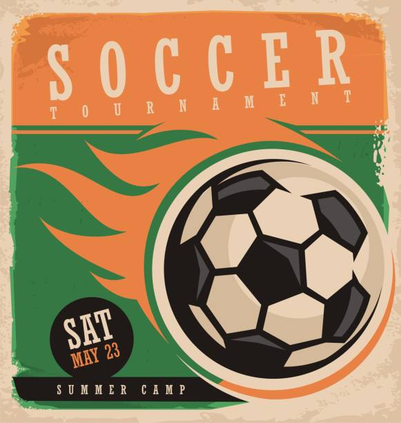 bildbanksillustrationer, clip art samt tecknat material och ikoner med mall för fotboll vektor affisch - fotboll eld