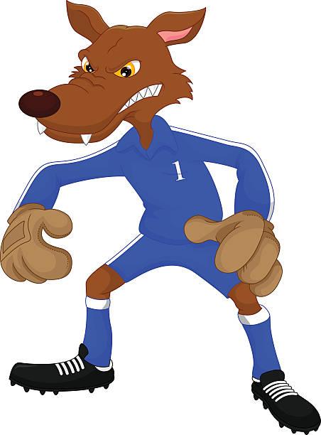 soccer wolf cartoon - hundehaarbögen stock-grafiken, -clipart, -cartoons und -symbole