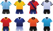 Vector illustration set of eight soccer world cup uniforms