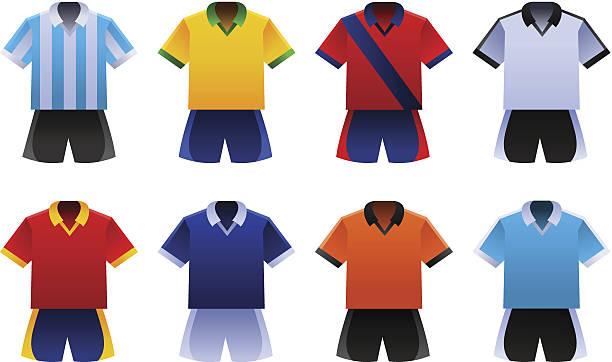 Copa mundial de fútbol uniformes - ilustración de arte vectorial