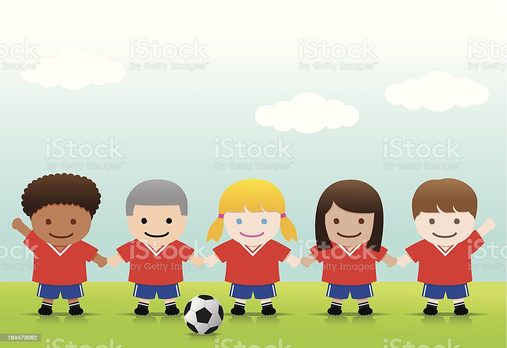 royalty free kids soccer team clip art vector images
