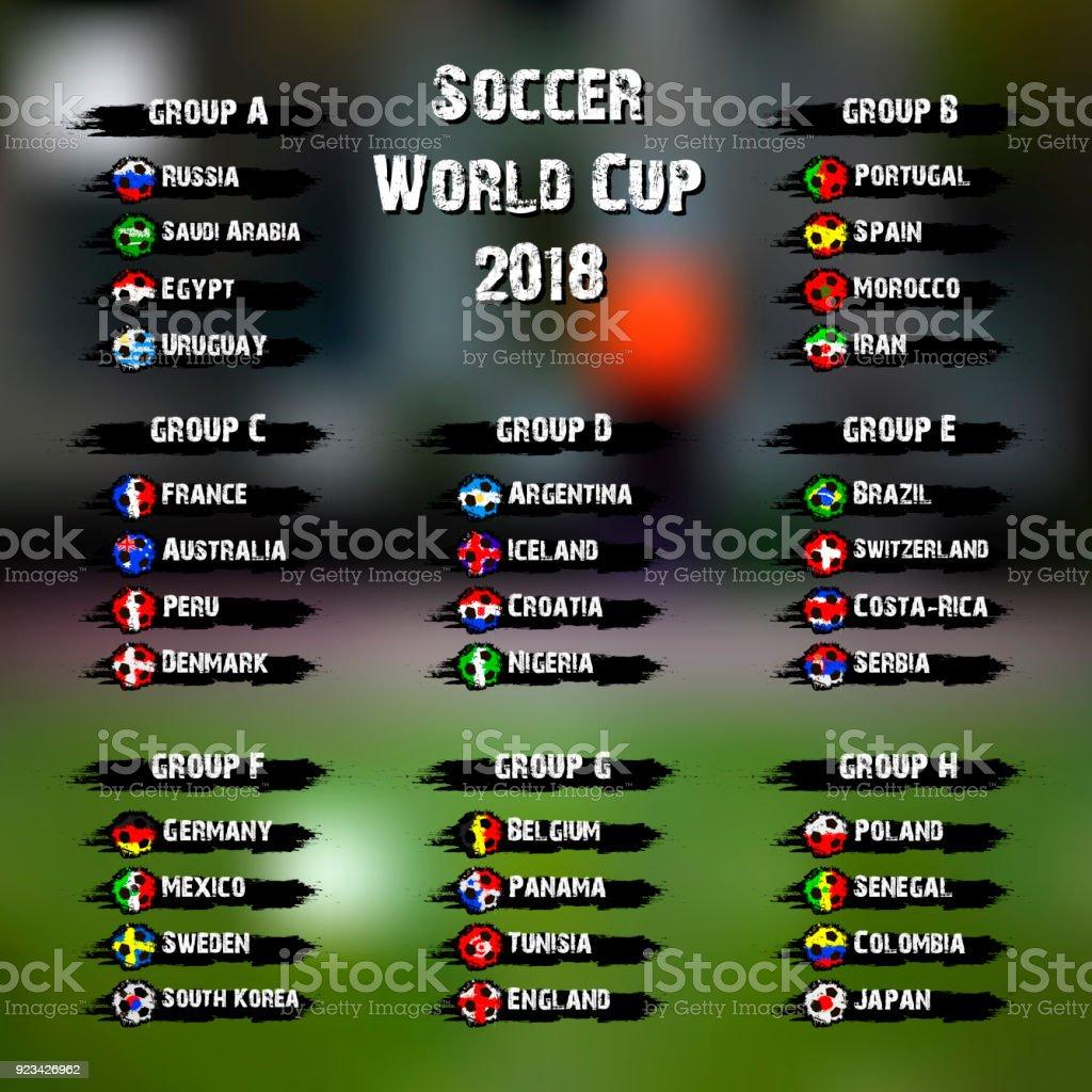 Torneo Mundial de fútbol 2018 - ilustración de arte vectorial