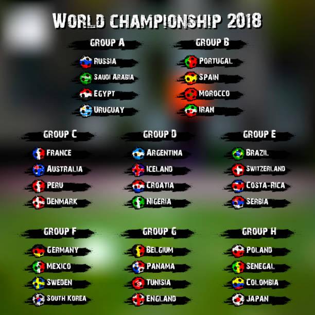 サッカー世界大会 2018 - ロシアの国旗点のイラスト素材/クリップアート素材/マンガ素材/アイコン素材