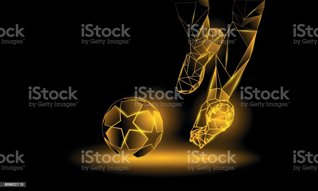 Soccer yellow neon background. Polygonal Football Kickoff illustration. Legs and soccer ball. vector art illustration