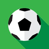 Vector illustration of a soccerball against a green background in flat style.