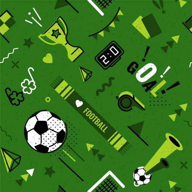 fußball/fußball nahtlose muster - fussball fan stock-grafiken, -clipart, -cartoons und -symbole
