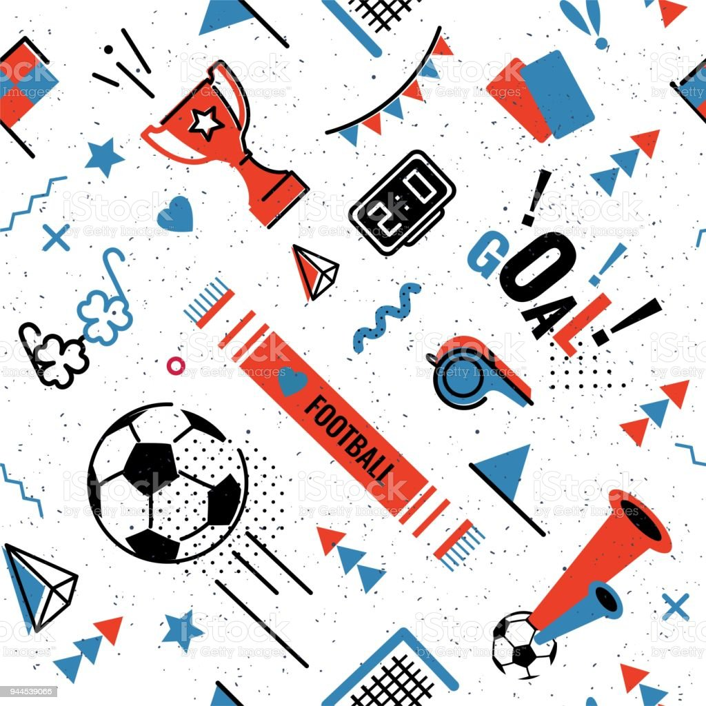 Soccer/football seamless pattern Soccer/football abstract background in 80s style. Seamless pattern for posers and cards. Vector illustration 1980-1989 stock vector