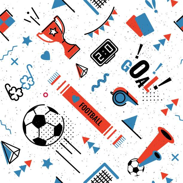 soccer/football seamless pattern - football stock illustrations, clip art, cartoons, & icons