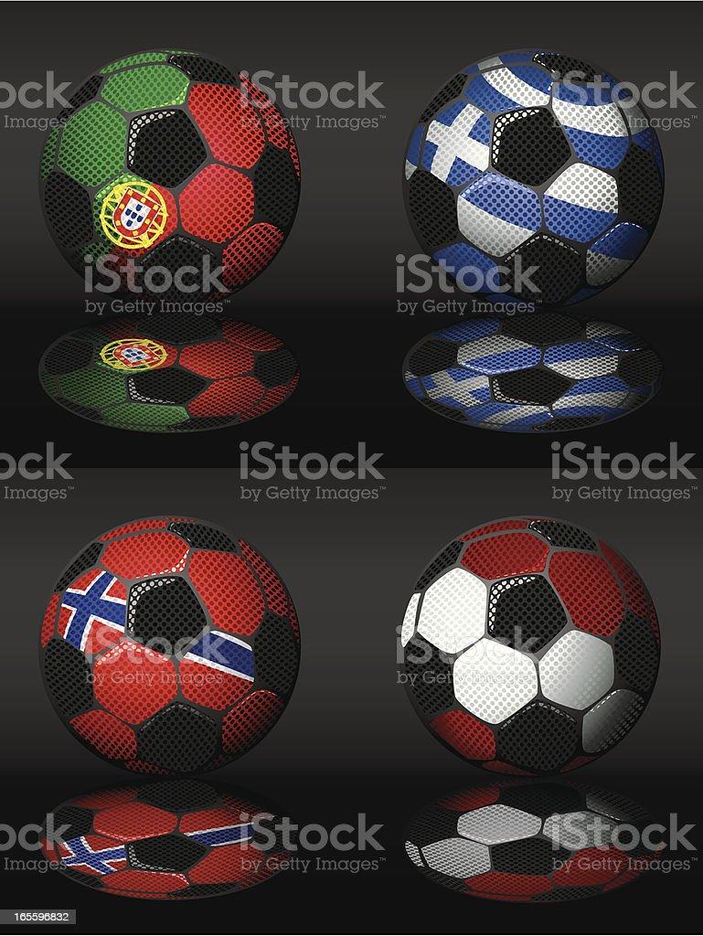 Futebol-Portugal, Grécia, Letônia, Noruega ilustração de futebolportugal grécia letônia noruega e mais banco de imagens de bandeira royalty-free