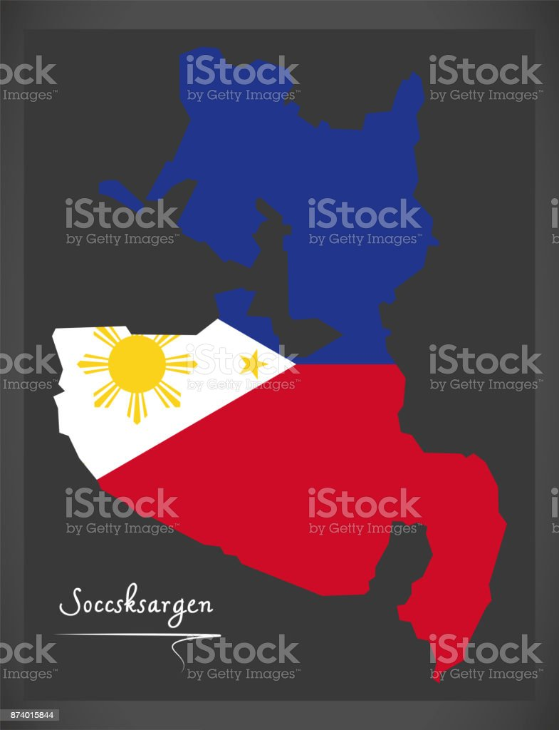 Soccsksargen map of the Philippines with Philippine national flag illustration vector art illustration