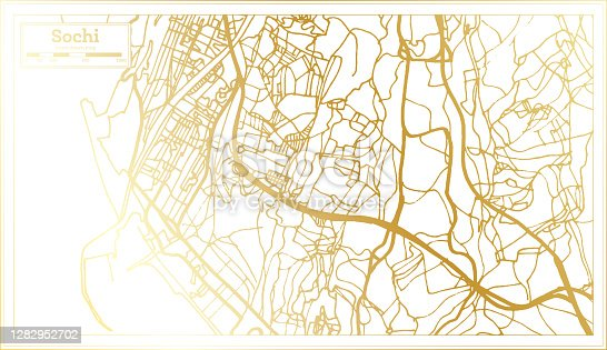 istock Sochi Russia City Map in Retro Style in Golden Color. Outline Map. 1282952702