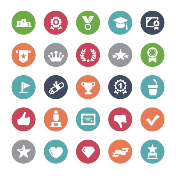 Social Achievement Icons - Bijou Series vector art illustration