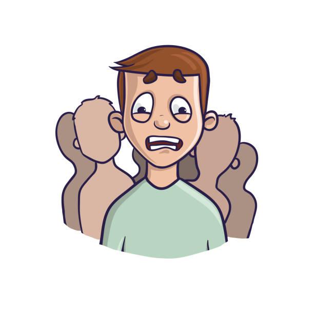 stockillustraties, clipart, cartoons en iconen met sociale angststoornis, sociale fobie concept. depressieve man in de menigte van silhouetten. vectorillustratie, geïsoleerd op een witte achtergrond. - paranoïde
