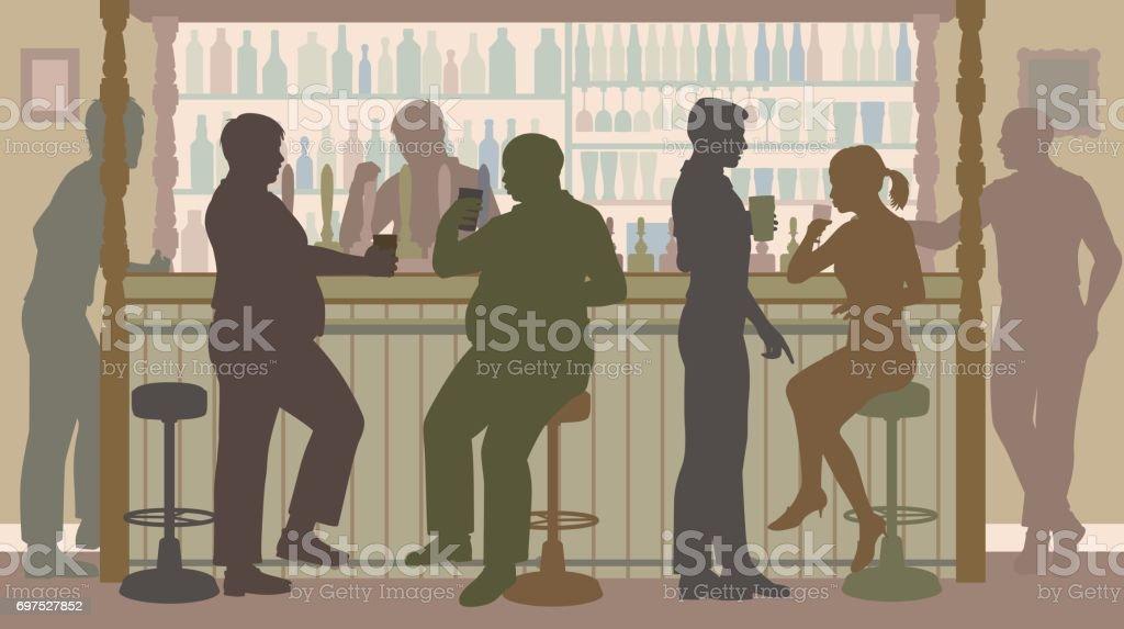 Social bar vector art illustration