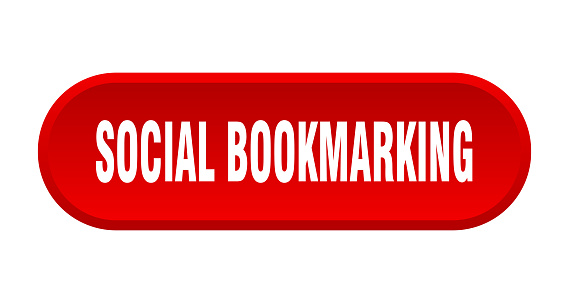 social bookmarking button. rounded sign on white background