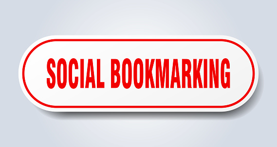 social bookmarking sign. rounded isolated button. white sticker